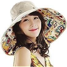 Gorra Visera anti-UV sombrero de playa Elégant Mujer Niña Capeline viaje plegable Large borde sombrero de sol/cubo sèchage rápido vacaciones de verano protección solar Sun Hat para primavera verano, color Fleur Beige, tamaño talla única