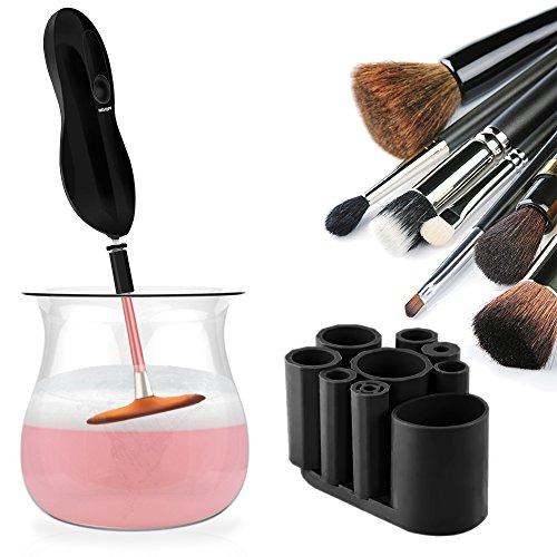 Make up Pinsel Reiniger - SUPTEMPO Elektrischer Kosmetikpinsel Reinigungsgerät und Trockner mit 8 Silikonmanschetten (Schwarz)
