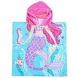 Vertvie® Kinder Kapuzen Handtuch Kapuzenponchos Schwimmen Badetuch Bademäntel Strandtuch mit Cartoon Muster für Jungen und Mädchen von 2-6 Jahren (60x58cm, Meerjungfrau)