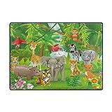 naanle Cute Bereich Teppich, Tiere, Dschungel Tiger Löwe Elefant Giraffe Zebra mit Bereich Teppich Matte für Esszimmer, Dorm Wohnzimmer Schlafzimmer-Deko 5'X7' multi Vergleich