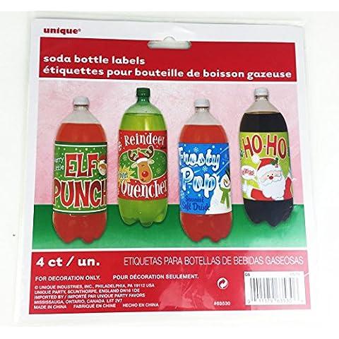 Soda-Etichette per bottiglie di vino, confezione da 4 pezzi, per feste, con adesivi Accessori, SodaLabels - Vino Di Natale Etichetta