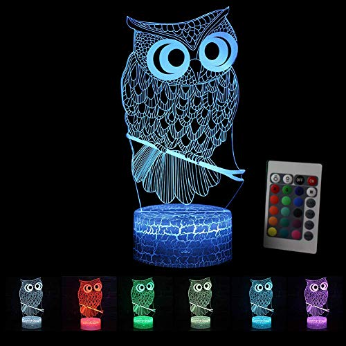 LED Nachtlicht 3D Kinder Eule Illusion Stimmungslicht Fernbedienung Nachttischlampe 7 Farben ändern Touch Switch Schreibtisch Lampen Geburtstagsgeschenk -