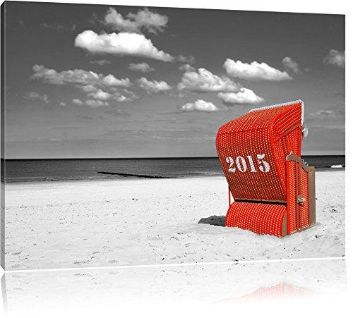 Pixxprint Strandkorb an der Nordsee 120x80cm Leinwandbild Wandbild Kunstdruck