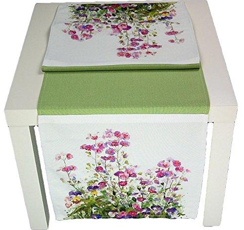 Tischdecken ALLZEIT klassisch Ausgefallene TISCHDECKE 40x140 cm Blumenwiese Bändchen Stickerei Grün Lila Bunt Sommerdecke Pflegeleichter Tischläufer (Tischläufer 40x140 cm)
