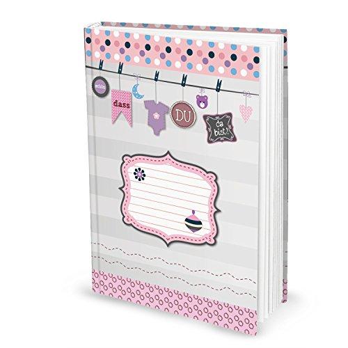 Leeres rosa pink XXL Babytagebuch Mädchen Baby Tagebuch Erstes Jahr SCHÖN DASS DU DA BIST Buch Babybuch Geschenk Eltern Geburt...