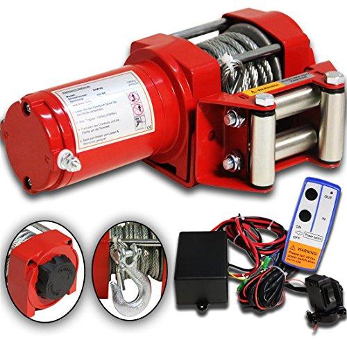 DMS® 12V Elektrische Seilwinde 1360KG Motorwinde 165:1 Funkfernbedienung Winde ESW-02