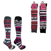 Two Pack Ladies Fairisle Thick Welly Boot Socks uk 4-7 EUR 37-41