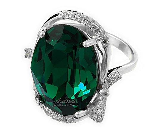Swarovski Kristalle Wunderschöner Ring Besondere Smaragd Sterling Silber 925Zertifikat (Siam-ring)