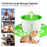 Pet Drinking Fountain Cat Dog Flower Fountain Electric Automatic Water Fountains with 1 Replacement Filter and Silicone Pad for Cat Dog Birds and Parrots,Upgraded 1.6 Liter/54 oz [Water Level Display] (Green)