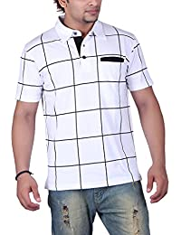 Vivid Bharti White Half Sleeve Box Printed Men's Polo Tshirt(Premium Quality T-Shirt)