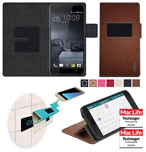 reboon Hülle für HTC One X9 Tasche Cover Case Bumper | Braun Leder | Testsieger