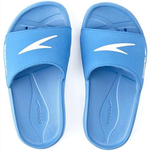 Speedo Atami Core Slide Jm, Scarpe da Spiaggia e Piscina Unisex-Bambini, Blu (Blue/White 000), 33 EU