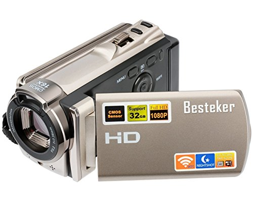 Kamera Camcorder, Besteker Digitale Videokamera FHD 1080P Max 20,0 Megapixeln Infrarot-Nachtsicht WIFI-Funktion mit 3,0 Drehbarem TFT-LCD-Bildschirm (Gold)