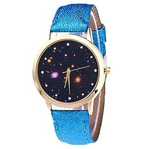 Unisex Uhren, BBring Herren Damen Fashion Sternenhimmel Sky PU Lederband Analog Quartz Vogue Uhren