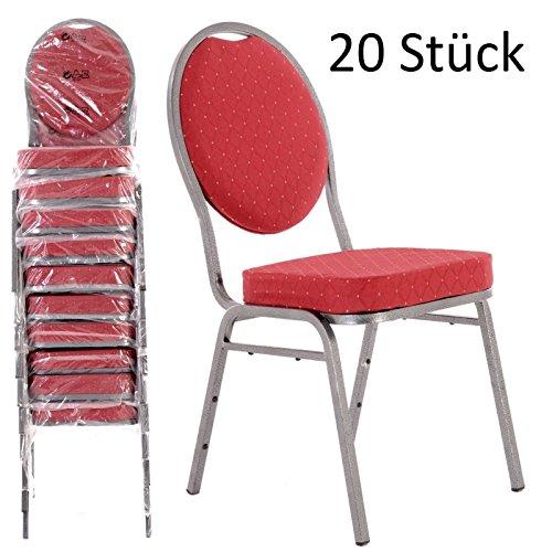 MACOShopde by MACO Möbel Bankettstühle 20er Set rot – Stapelstühle Konferenzstühle Saalstühle...