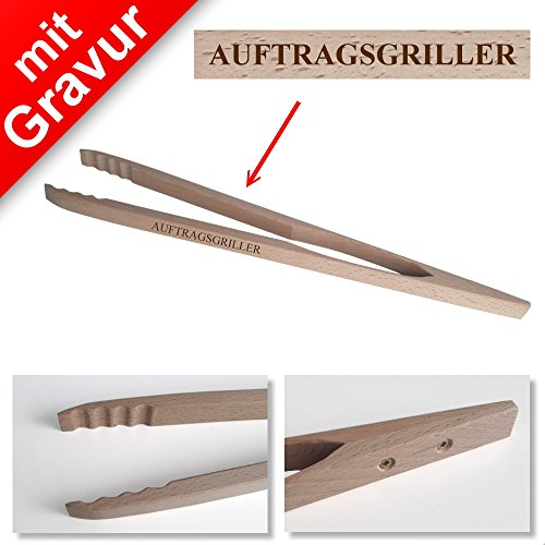 Grillzange mit Gravur (Name oder Spruch, z.B. Auftragsgriller) - Material: Holz - Länge ca. 48cm - Profi Grillzange mit Namen - Geschenkideen, Grillgeschenke, Geschenke für Männer