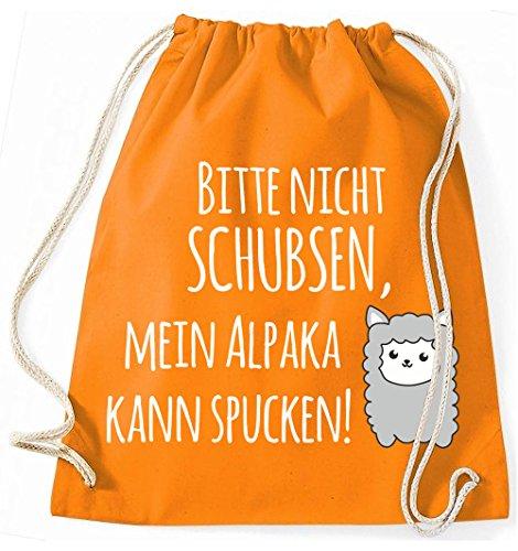 Jutebeutel Turnbeutel Sportbeutel Stofftasche Baumwolltasche Tasche Rucksack mit Kordel Gymsack Mein Alpaka kann spucken! (Natur) Orange