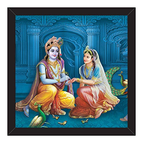 Paper Plane Design Radha Krishna Wall Paintings Frame for Bedroom (12 Inch X 12 Inch)