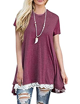 FeelinGirl Blusa Camisa Falda Mangas Largas Encaje Para Mujer (XL(Busto 108cm, Cintura 120cm, EU 48-50), Rosa-Manga...
