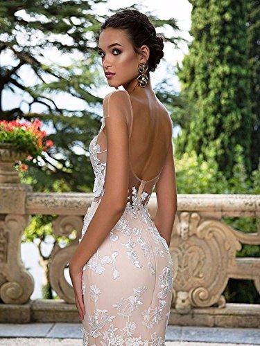NUOJIA Damen Lang Meerjungfrau Hochzeitskleider Champagner mit Blumen Appliques Tüll Brautkleider Rücken 32 - 3