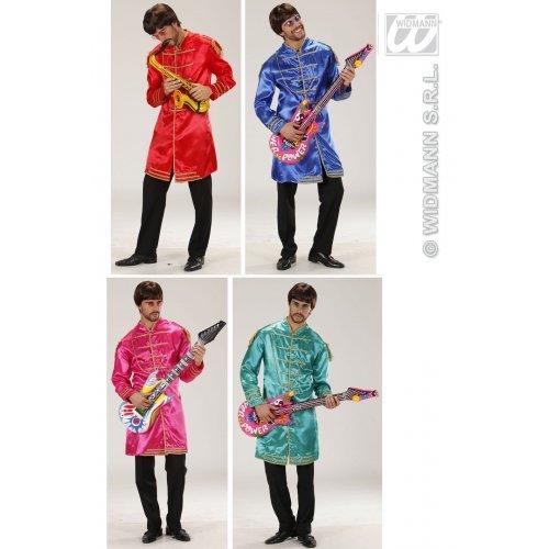 WIDMANN Herren-Kostüm Musicman (Jacke), Blau/Rot/Rosa/Grün, Größe L (106,7/111,8 cm) für 60er 70er Jahre - Blau Sgt Pepper Kostüm