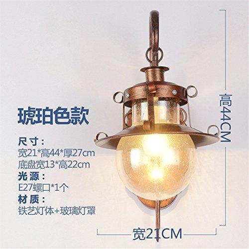 JJZHG Wandleuchte Wandlampe Wasserdicht Wandbeleuchtung Wandleuchte Schlafzimmer nachttischlampe Wohnzimmer ganglicht kreative Retro treppenlicht,Bernstein Platin beinhaltet: Wandlampe (Platin-chip)