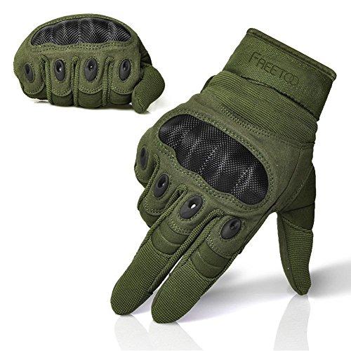 [Sport Handschuhe] FREETOO taktische Handschuhe Motorrad Handschuhe Herren Vollfinger Handschuhe mit gepolstertem Rückenseite geeignet für Airsoft Militär Paintball Motorrad Fahrrad und andere Outdoor Aktivitäten, lebenslange Garantie, XL