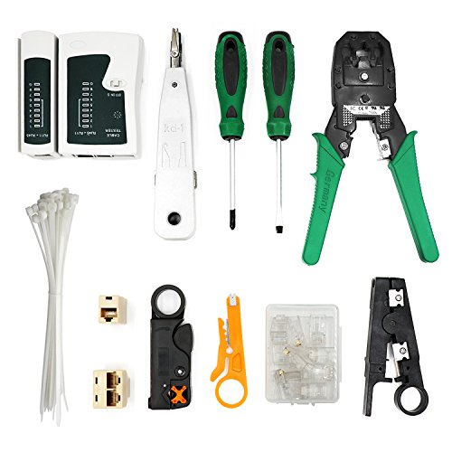 Netzwerk Werkzeug, MAIKEHIGH 12 in 1 Professionelle Netzwerk Computer Wartung Reparatur Werkzeuge Rj45 Rj11 Cat5 LAN Netzwerk Tool Kit (Automatische Draht-crimp-werkzeug)