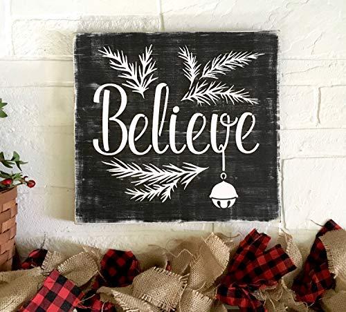 Queen54ferna Holzschild Believe Polar Express Weihnachten mit Glocke für Urlaub Zuhause Dekor