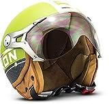 SOXON SP-325-PLUS Army · Biker Helmet Vintage Vespa-Helm Cruiser Scooter-Helm Bobber Motorrad-Helm Retro Mofa Chopper Jet-Helm Roller-Helm Pilot · ECE zertifiziert · inkl. Sonnenvisier · inkl. Stofftragetasche · Grün · XS (53-54cm)