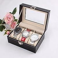 GosFrid Wrist Watch Storage Box Display Case Organizer of Faux Leather Finish with Glass Window (3 Slot) - 1pc(Black)