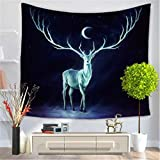 Animal Series Tapestry, Nordic Home Dream Elk Print Tapestry Living Room Bedroom Background Wall Decorative Beach Carpet , D , 200*150