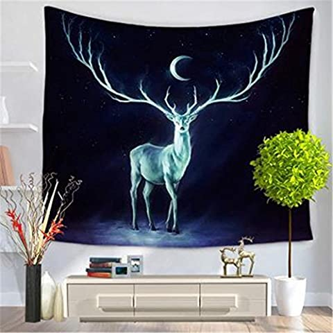 Animal Series Tapestry, Nordic Home Dream Elk Print Tapestry Living Room Bedroom Background Wall Decorative Beach Carpet , D ,