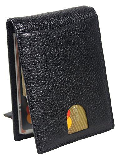Kreditkarte Brieftasche Mit Geldscheinklammer - RFID Schutz Front Pocket Geldbörse Minimalistischen Geldbörse aus echtem Leder Schlanke Brieftasche Geldscheinklammer für Männer (Riemen Brieftasche Mit)