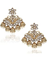Meenaz Gold Plated Pearl Crystal Jhumki Jhumka Earrings For Women