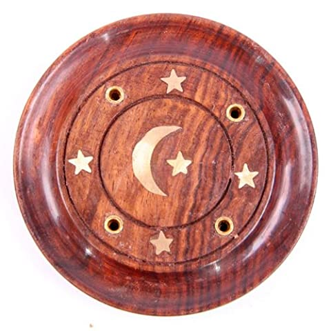 Sheesham Wood Round Ash Catcher - Moon and Stars Inlay. Incense Stick Holder. by Newquay-Bonsai