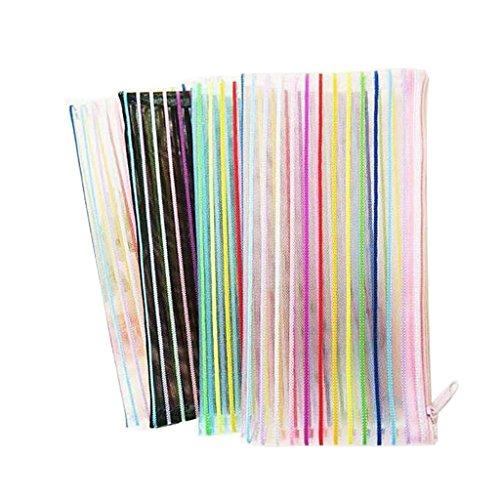 Jiamins 1 Stück Bunte Linien Nylon Federmäppchen,Große Kapazität Schulbedarf Schreibwaren