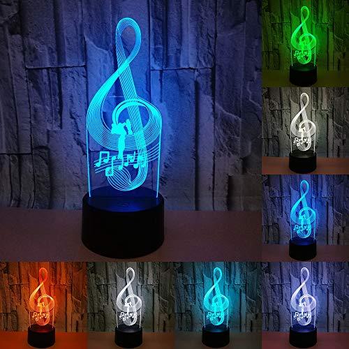 RUMOCOVO Música Nota 3D Lámpara USB Luz De Noche 7 Colores RGB Iluminación LED Táctil Lámpara Para Los Amantes De La Música Regalo de Navidad Hogar Iluminación