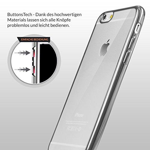 URCOVER® Case Cover Custodia Trasparente Apple iPhone 6 Plus / 6s Plus di Silicone TPU | Morbida Protettiva Flessibile Lavabile Leggera con Bordo Cromato in Argento Nero