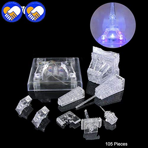 Qiong YaoTIAN Nachtlicht 3D Kristall Puzzle Musik & LED Flash Schloss Kristall Puzzle Musik Licht Modelle Schloss Puzzle Pädagogisches Kinderspielzeug (Color : Eiffel Tower Nobox) (Kristall-musik)