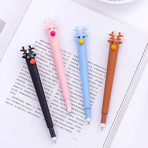 Gaddrt Weihnachtsverzierung Kugelschreiber Pen Niedliche Kawaii Cartoon Elch Gel Ink Pen Kugelschreiber 0.5mm Schwarze Tinte Student Pens 15.5cm (Schwarz)