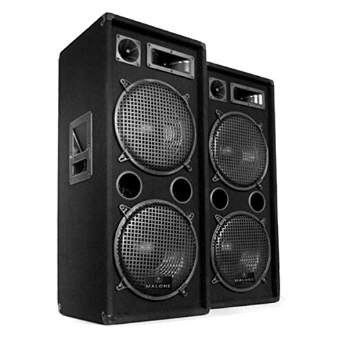 Malone PW PA-Boxen PA Lautsprecher Lausprecherboxen Einzel Paar passiv (Paar Boxen, Paar - schwarz - 500W RMS - 2 Etagen)
