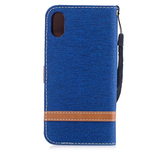 LEMORRY Apple iPhone X (iPhone Ten 10) Custodia Pelle Cuoio Flip Portafoglio Borsa Sottile Bumper Protettivo Magnetico Morbido Silicone TPU Cover Custodia per iPhone X, Stile del Denim Rosso Blu