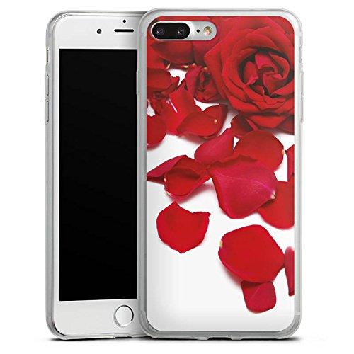 Apple iPhone 8 Plus Slim Case Silikon Hülle Schutzhülle Rosenblätter Rose Blüte Silikon Slim Case transparent