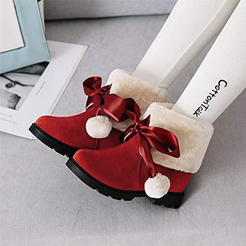 Neue Stiefel Schnee (MENGLTX High Heels Sandalen Neue Schnee Stiefel 2019 Solide rutschfeste Runde Kappe Schuhe Frau Casual Frauen Winter Stiefeletten Große Größe 33-43 10,5 Rot)