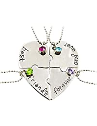 Fengteng Best Friends Forever and Ever Friendship Love Necklace Diamond Stitching Splice Broken Heart 4 Pieces Necklace