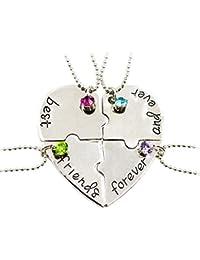 Fengteng Mejores Amigos para Siempre y para Siempre Amistad Amor Collar de Diamantes de Costura Empalme Corazón Roto Collar 4 Piezas
