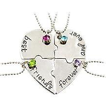 Fengteng Meilleurs Amis Pour Toujours et Déjà Amitié Amour Collier Diamant Piqûre Épissure Cassé Cœur Collier 4 Pièces