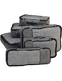 FATMUG Packing Cubes Travel Bag Organiser Set of 6 (1 Large, 2 Medium, 2 Small and 1 Slim)