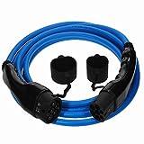 EV Cables Premium Euro Series Ladekabel für Elektroautos mit Bonus Tragetasche Typ 2 bis Typ 2-32 amp   3.5 Meter   22kW - Blau